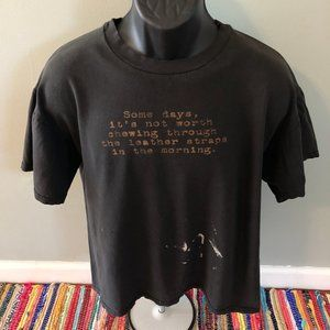 90s Emo Philips Leather Straps Quote Shirt Large